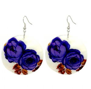 Blue Flower Print Circle Shell Disc Hoop Earrings